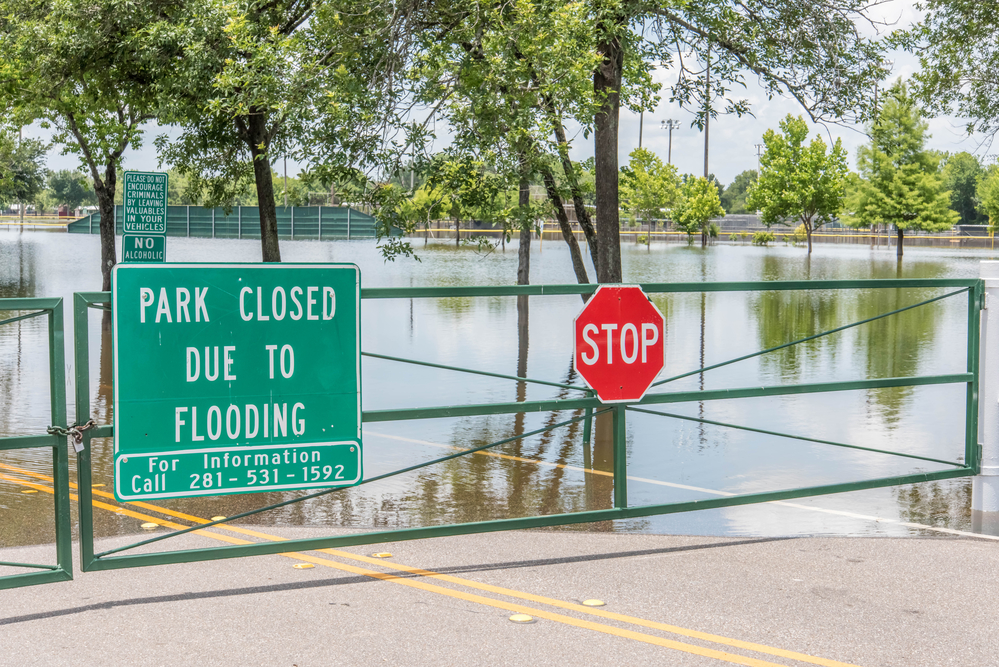 May 30, 2015 - Addicks Reservoir Park, Houston, TX: Standing flood waters over roads and fields